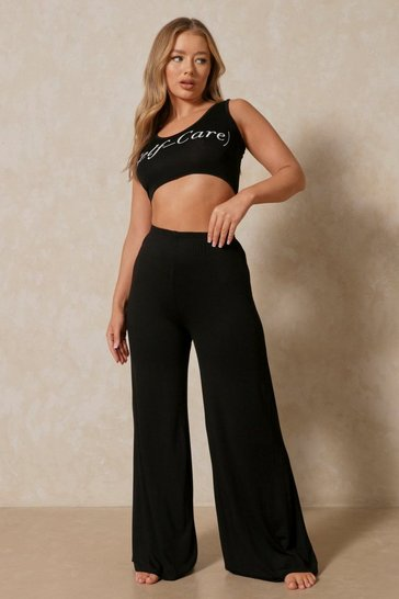 Black Self Care Slogan Wide Leg PJ Set