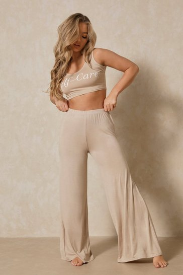 Stone Self Care Slogan Wide Leg PJ Set