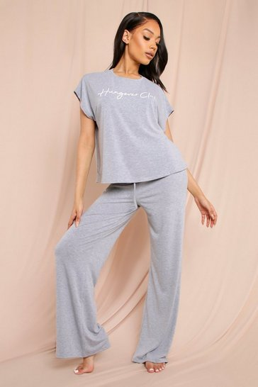 Grey Hungover Club Slogan Boxy PJ Set