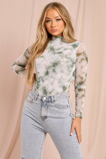 Sage Marble Print Mesh Extreme Cut Out Bodysuit