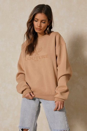 Camel Couture Embroidered Sweatshirt
