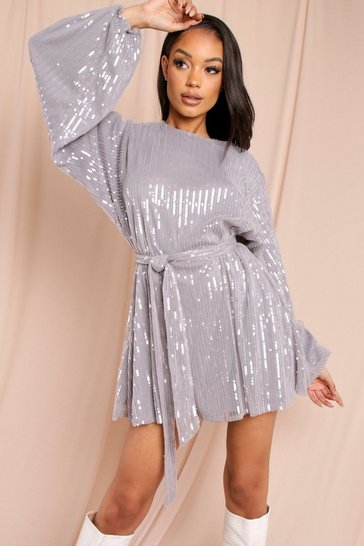 Grey Premium Sequin Shoulder Pad Mini Dress