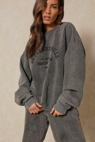 Grey Beverley Hills Embroidered Oversized Sweatshirt
