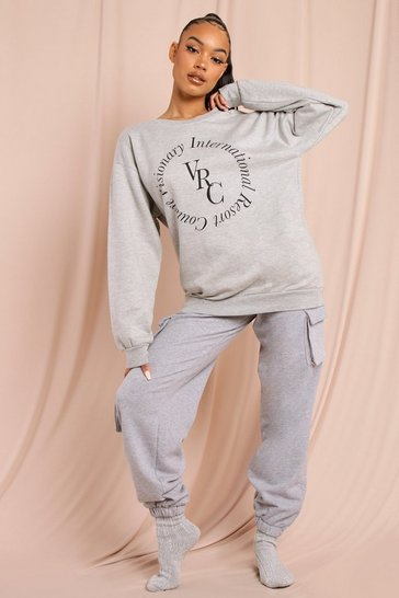 Grey Visionary Printed Oversized Sweatshirt