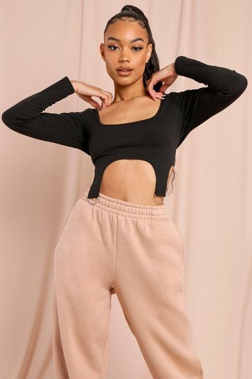 Black Long Sleeved Square Neck Harness Crop Top