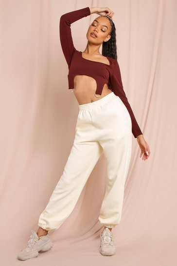 Chocolate Long Sleeved Square Neck Harness Crop Top