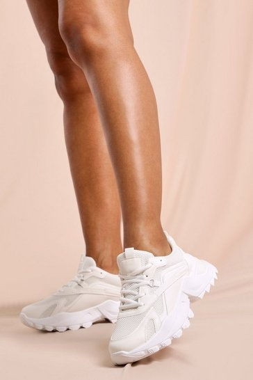 White Faux Leather Chunky Platform Sneakers