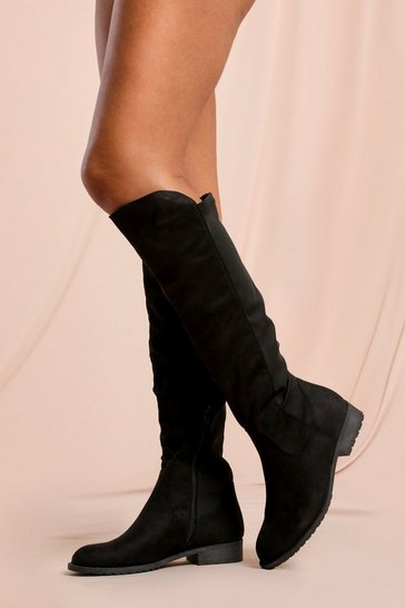 Black Faux Suede Flat Heel Over The Knee Boots