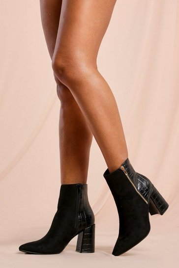 Black Croc Zip Detail Block Heel Ankle Boot