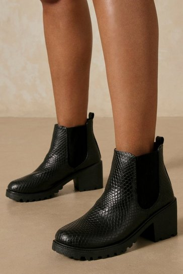 Black Snake Heeled Chelsea Ankle Boot