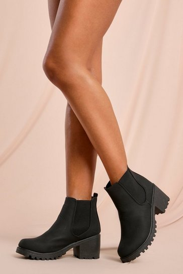 Black Leather Look Heeled Chelsea Ankle Boot