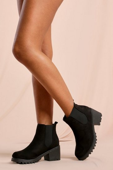 Black Faux Suede Heeled Chelsea Ankle Boot