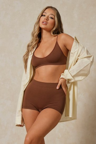 Chestnut Mocha Ribbed Seamless Triangle Bralet