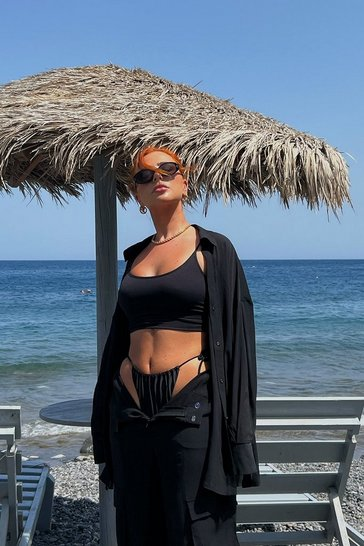 Black Ribbed Seamless Longline Lounge Bra