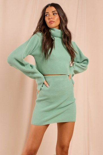 Sage Knitted Balloon Sleeve Jumper