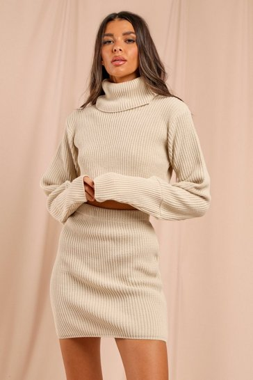 Stone Knitted Balloon Sleeve Jumper