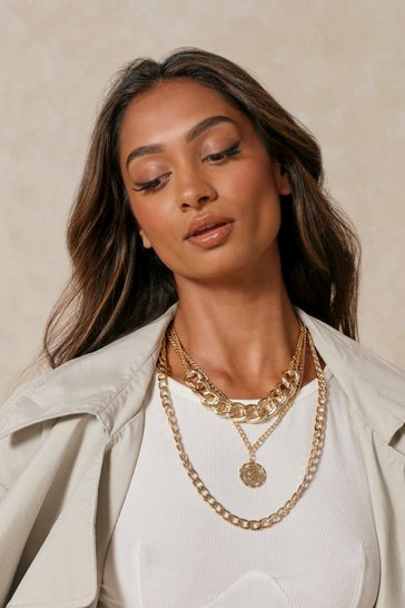 Gold Layered Choker And Pendant Necklace