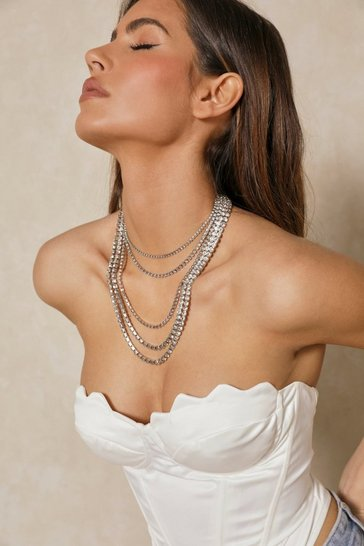 Silver Layered Diamante Neckalce