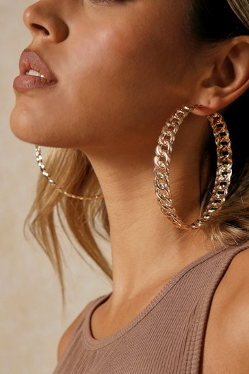 Gold Oversized Chain Hoop Earring