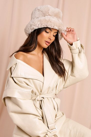 Beige Faux Fur Bucket Hat