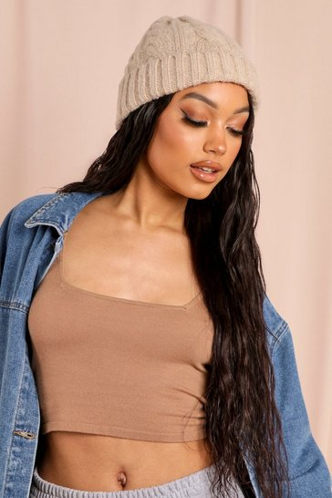Mink Cable Knit Beanie Hat