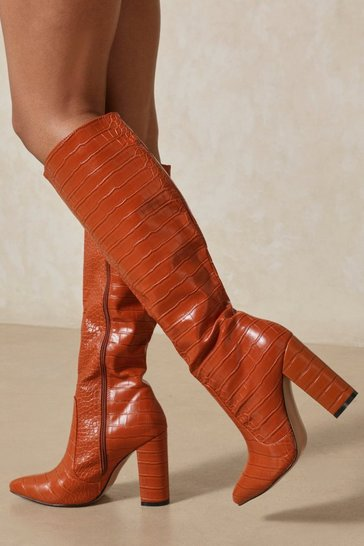 Camel Croc Print Knee High Heeled Boots