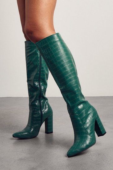 Green Croc Print Knee High Heeled Boots