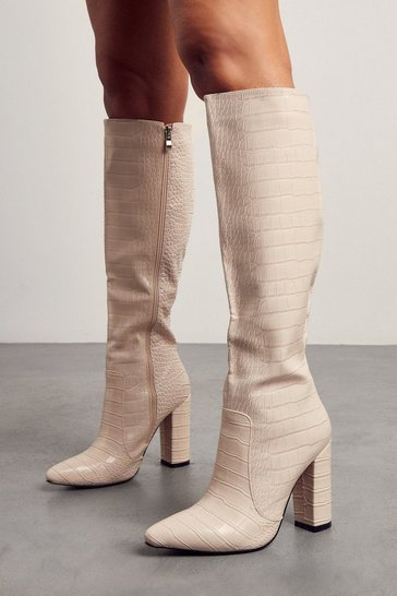 Nude Croc Print Knee High Heeled Boots