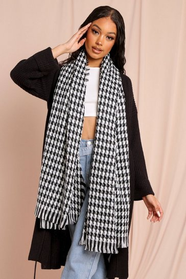 Black Dogtooth Checked Scarf