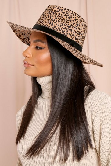 Brown Leopard Fedora Hat
