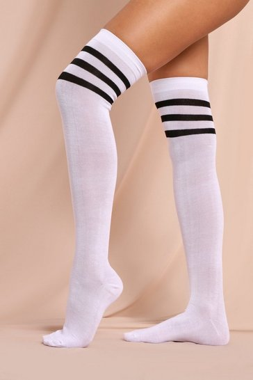 White Halloween Sports Stripe Over The Knee Socks
