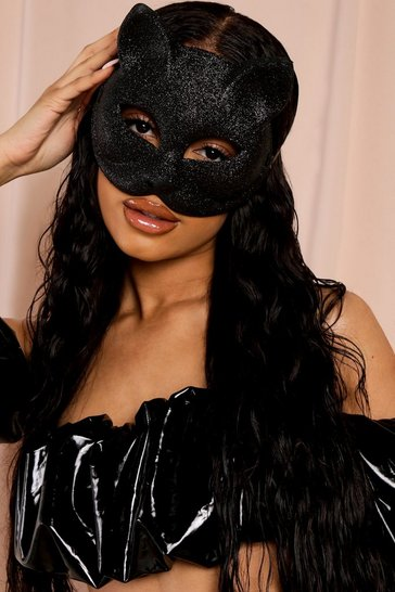 Black Halloween Glitter Cat Mask