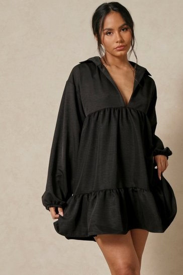 Black Collared Smock Dress