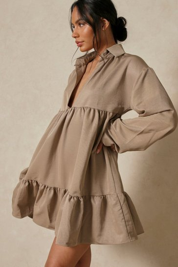Olive Collared Smock Dress