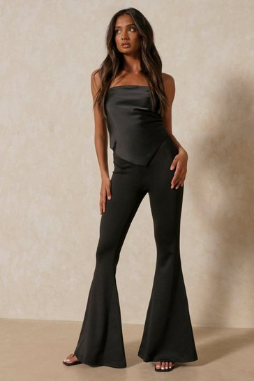 Black Extreme Kick Flare High Waist Flared Trouser