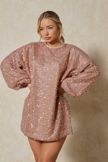 Nude Sequin Oversized Long Sleeve Dress