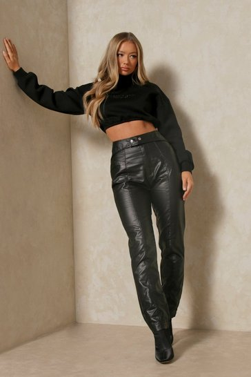 Black Belted Waistband Leather Look Jeans