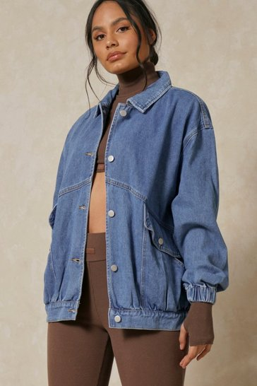 Mid blue Oversized Slouchy Denim Jacket