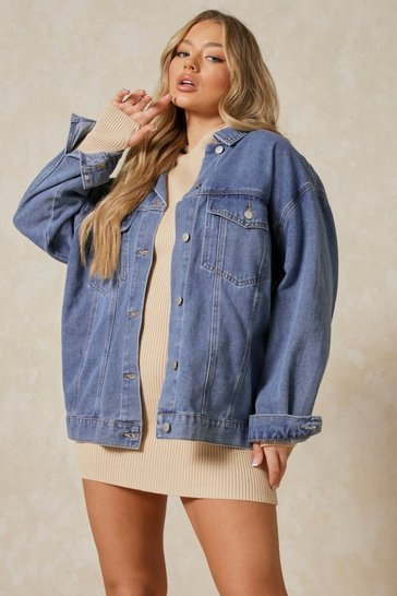 Dark blue Extreme Oversized Volume Sleeve Denim Jacket