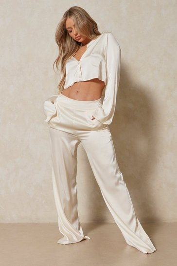 Cream Luxe Satin Shirt And Wide Leg PJ Set