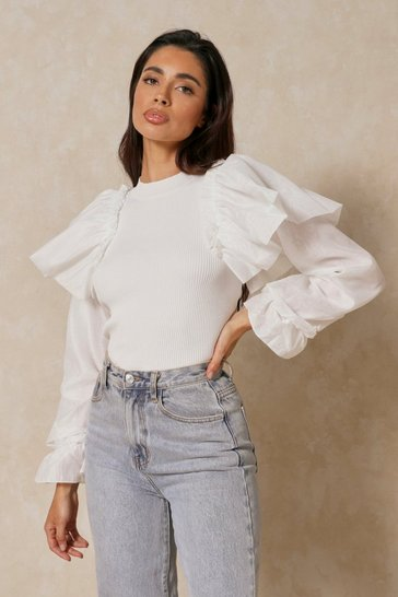 Cream Ribbed Extreme Puff Balloon Sleeve Top