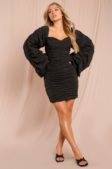 Black Extreme Ruched Bodycon Mini Dress