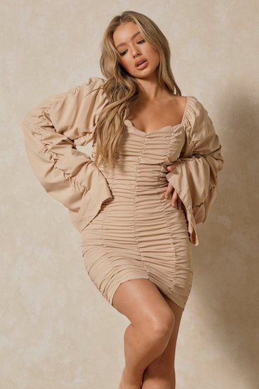 Nude Extreme Ruched Bodycon Mini Dress