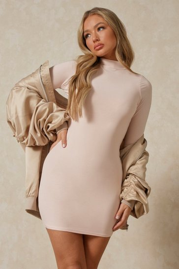 Nude Double Layered Turtleneck Long Sleeve Dress