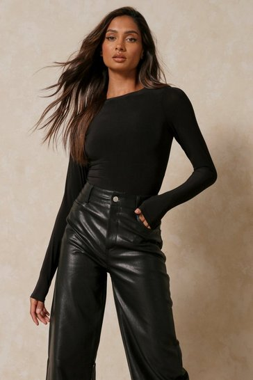 Black Double Layer Long Sleeved Shoulder Pad Bodysuit