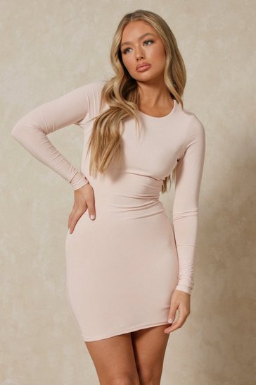 Nude Double Layer Long Sleeve Mini Dress