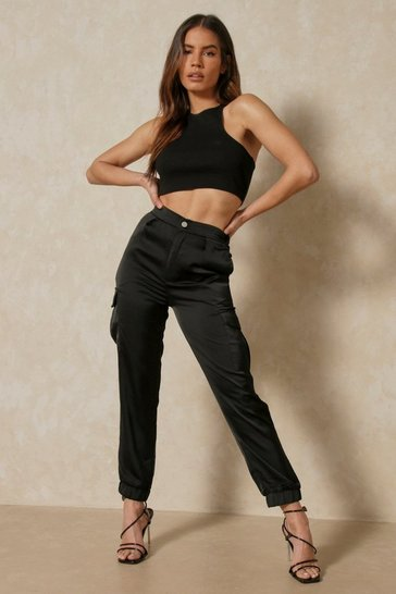 Black Satin Utility Cargo Pants