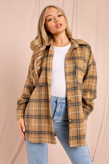 Nude Oversized Checked Pocket Detail Shacket