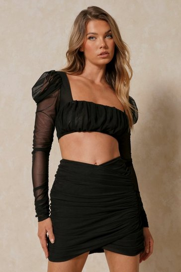 Black Layered Mesh Wrap Mini Skirt