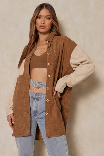 Brown Contrast Oversized Cord Shirt